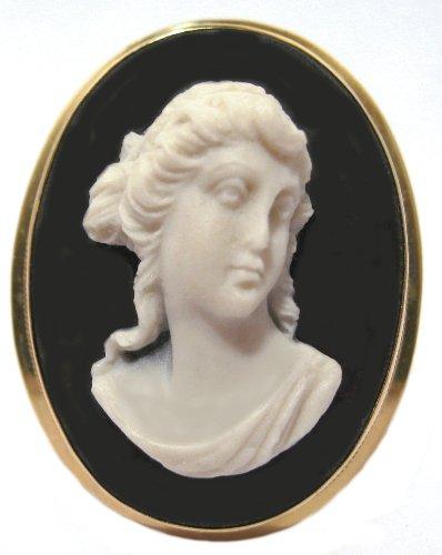 Wedgwood Brooch Cameo (Goddess Diana Cameo Pin Pendant Brooch Italian 14k Yellow Gold Italian Hand Made)