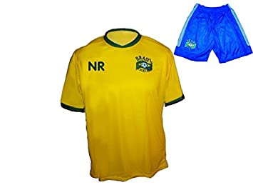 Camiseta de fútbol de Brasil + pantalón con nombre + número de talla M