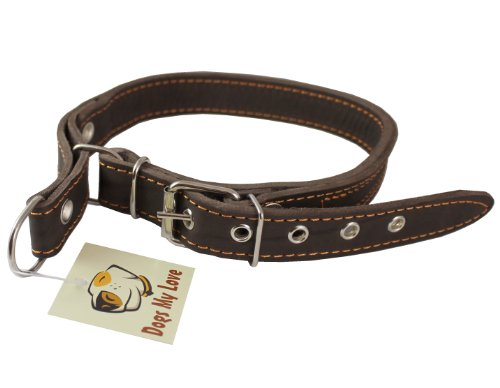 Martingale High Quality Genuine Brown Double Ply Leather Dog Collar Choker Medium to Large Fits 17.5″-21″ Neck., My Pet Supplies