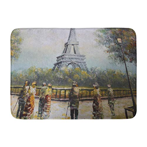 (Eiffel Tower Oil Painting,Darkchocl Decorative Bath Mat Abstract Brush Strokes and Style Absorbent Non Slip 100% Flannel 17''L x 24''W for Bathroom Toilet Bath Tub Living Room)