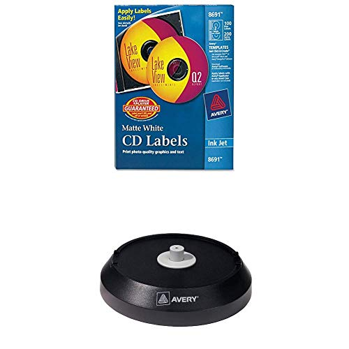 Avery CD/DVD Labels CD/DVD Labels - 100 Disc Labels & 200 Spine Labels (8691) with Avery CD/DVD Label Applicator (5699), Black