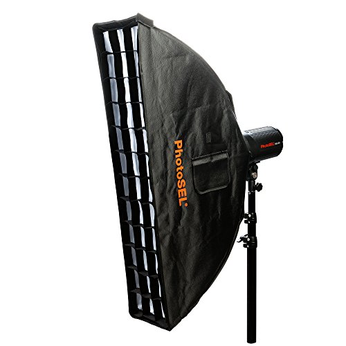 PhotoSEL Strip Softbox with Honeycomb Grid and Carrying Bag, Bowens S-Type Mount, 8.7 x 35.4 inches, Studio Flash, SBSR2X9BE - Speed Grid