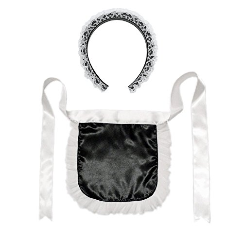 French Maid Headband & Apron Costume Set ~ Halloween Accessory Kit White]()