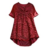 Womens Cotton Linen Blouse Solid Button Lace Stitching Short Sleeve Shirt Tops Wine
