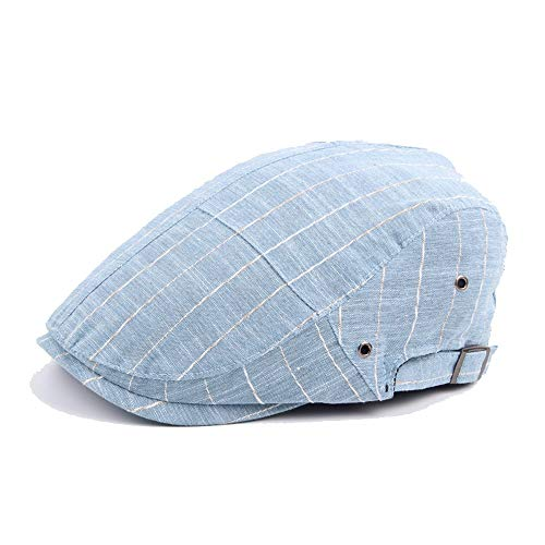 (L.W.SUSL Striped Beret Cap for Men Women Autumn Cotton Thin Stitching Cap Vent Hole Beret Visor (Color : Light Blue, Size : 56-58CM) )