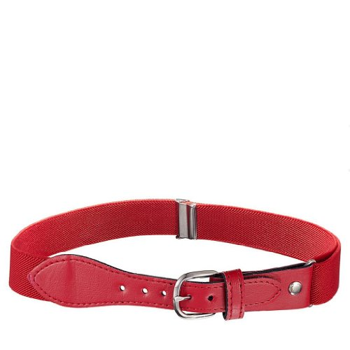 Albert's Kids Elastic Stretch Belt with Leather Closure - Red