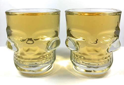 Skull Shot Glasses Set of 6 Heavy Base 1.5 oz Whiskey Shotglasses Skeleton Face Clear | Great for Halloween Parties Home Entertainment Groomsmen Bars Jello Shots | Fun Shooters SUMMIT
