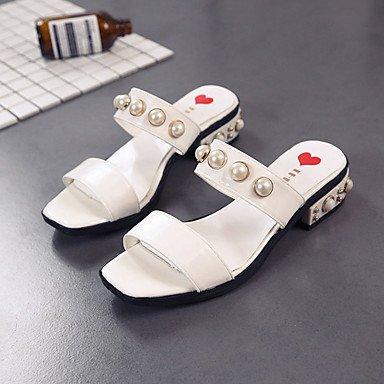 Frauen 039 s Sandalen Komfort PU Sommer Casual Comfort Raupe flachem Absatz Beige Schwarz Weiß FlatWhiteUS 6 EU 36 UK 4 CN 36