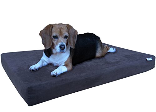 Dogbed4less Orthopedic Dog Bed with Memory Foam for Medium Large Pet, Waterproof Liner, Washable Micro Suede Espresso Cover, 41X27X4 Inch (Fit 42X28 Crate) by Dogbed4less