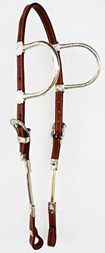 PRORIDER-Horse-Saddle-Tack-Bridle-Western-Leather-Show-Headstall-Double-Ear-Silver-78187