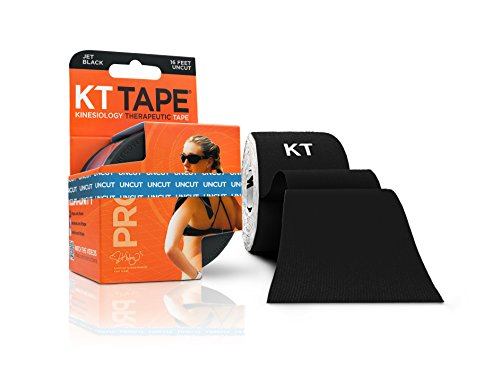 KT Tape Pro Kinesiology Therapeutic Sports Tape, 16.6 Foot Uncut Roll, Black, Latex Free, Water Resistance, Pro & Olympic Choice