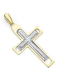 14k Two Tone Gold Religious Cross Pendant