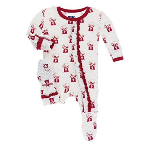KicKee Pants Little Girls Print Muffin Ruffle Footie with Snaps - Natural Gumball Machine, 9-12 Months ()