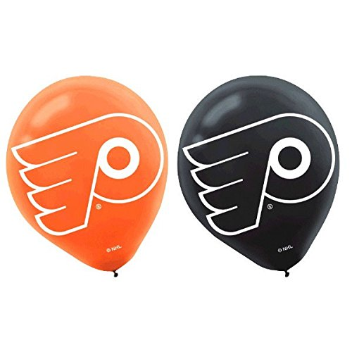 Amscan NHL Party Philadelphia Flyers Printed Latex Balloons Decoration, Orange and Black, 12