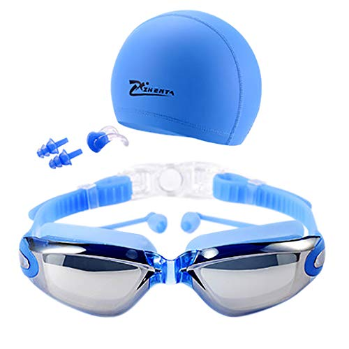 CapsA Swim Goggles Swimming Goggles Anti-Fog UV Protection Coated Lens No Leaking with Swim Cap Nose Clip Earplugs Case for Men Women Adult Youth Kids (Blue)