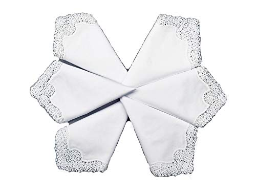 MyButterflyBasket Set of 6 Pieces Bridal Wedding Daisy Embroidered Crochet Lace Handkerchief/White for Bride & Ladies, - Handkerchief Embroidered Handmade