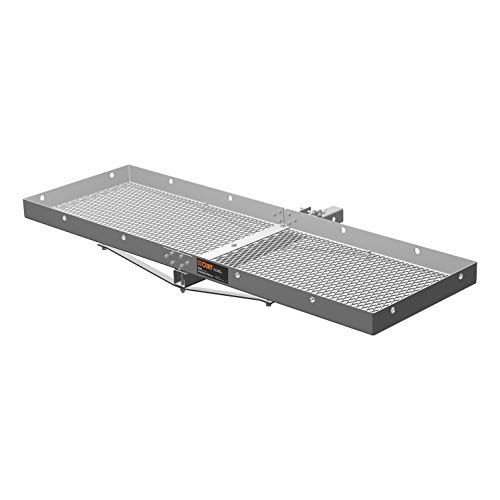 (CURT 18100 Tray-Style Trailer Hitch Cargo Carrier, 500 lbs. Capacity, 60-Inch x 19-Inch, Fits 2-Inch Receiver)