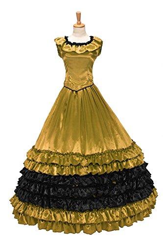 XOMO Colonial Civil War Satin Ball Gown Dress Prom Luxury Layered Ruffles Gold M ()