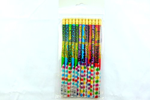 Pack of 12 pcs HB Pencils - 4 assorted Colourful Super Reader Themed with Eraser on top from USA ()