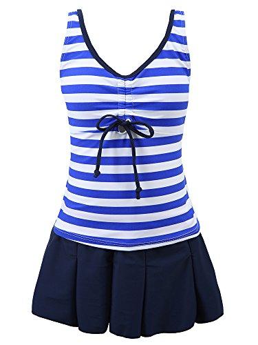 Chrysea Big Girls Kids Striped Swimsuit Pleated Skirt Swimwear (10-12, Blue) (Girls Bottom Swimsuit)