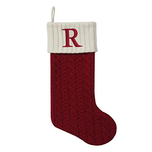 St. Nicholas Square 21 Inch Cable Knit Monogram Christmas Stocking (Embroidered R)