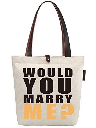 So'each Women's Would You Merry Me? Canvas Handbag Tote Shoulder Bag
