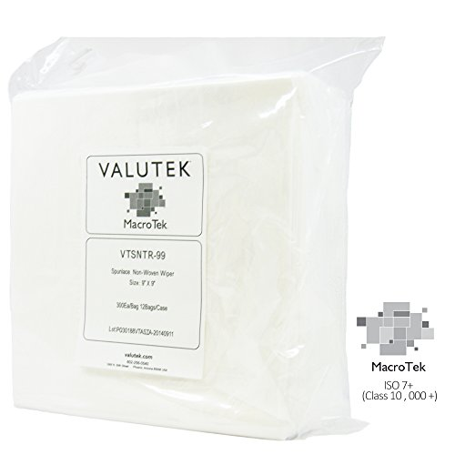 Valutek VTSNTR-99 Cellulose/Polyester Spunlace Nonwoven Cleanroom Wiper, 9