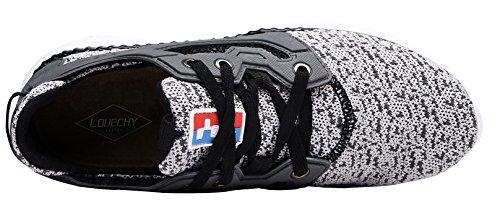 LOUECHY Herren Fastar leichte Laufschuhe stricken Trainer Schuh Walking Fashion Sneaker Weiß