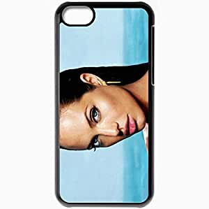 Personalized iPhone 5C Cell phone Case/Cover Skin Angelina jolie face lips wet earrings Actress Black