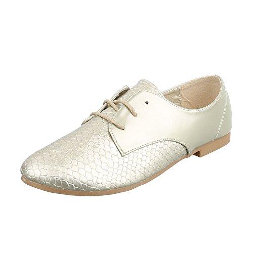 Ital-Design - Zapatos Planos con Cordones Mujer Gold HS30
