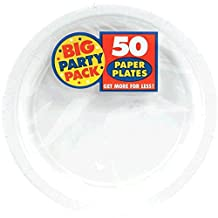 Amscan Big Party Pack Paper Dinner Plates 9-Inch, 60/Pkg, White