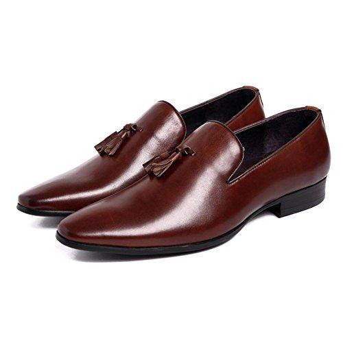 Hombres Cuero Inteligente Oxford Borla Zapatos Ponerse Formal Boda Negocio Casual para Hombres Negro marrón tamaño 38-44 brown