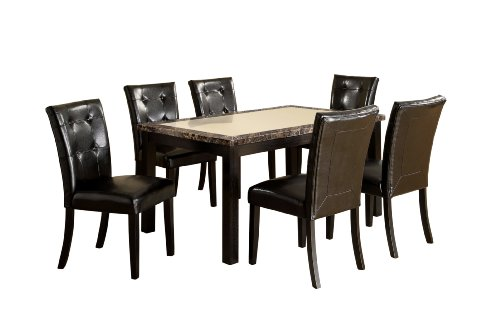 Furniture of America Taveren 7-Piece Faux Marble Dining Table Set, Black