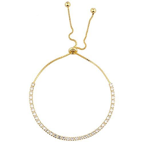 Baguette Gold Tone Bracelet - Lux Accessories Gold Tone Baguette Rhinestone Tennis Bracelet Slider Bracelet