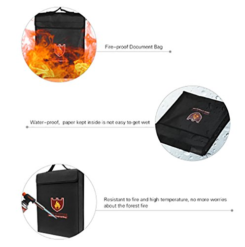 Fireproof Bag,Kissmi Fireproof Document Money File Bag Pouch With Non-Itchy Silicone Coated Fiberglas,Shoulder Strap and Zipper 15x11x3