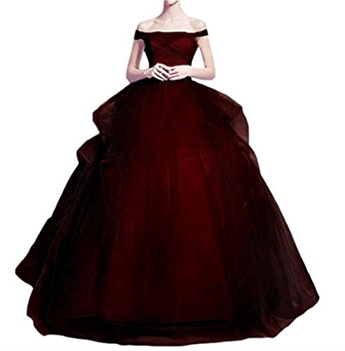 (Dydsz Evening Prom Dresses for Women Wedding Party Quinceanera Ball Gown Off The Shoulder D91 B-Burgundy 24)