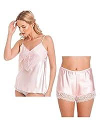 armona Ladies Satin cami Set Camisole French Knickers Shorts Lace Retro Plus Sizes