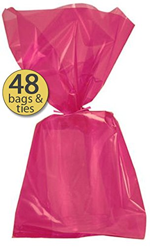 Set of 48 - Hot Pink Cellophane Party Favor Bags with Hot Pink Twist Ties - Treat Goody Bags - Treat Sacks - Bulk Value - Princess Sack Treat