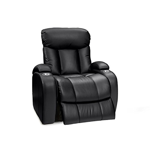 Seatcraft Sausalito Leather Gel Power Home Theater Recliner with In-Arm Storage and USB Charging, Black