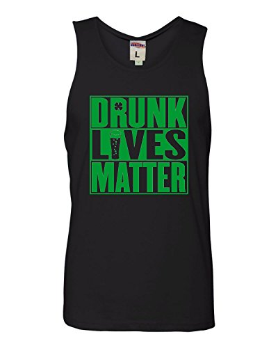 XX-Large Black Adult Drunk Lives Matter St. Patricks Day Sleeveless Tank Top Cotton T-Shirt