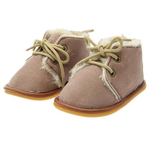 Highdas Bebé Invierno Calentar Caucho Único Prewalkers Zapatos Más Terciopelo Niñito Botas Zapatos Rojo 13cm Gris