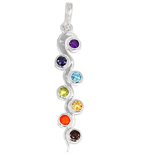 Xtremegems Kundalini Healing Chakra 925 Sterling Silver Pendant Jewelry 1 7/8