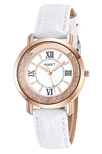 INWET Rhinestone Quartz Wrist Watch for Women,Rose Gold Watch Case, White Leather Strap,Grils - Warehouse Rose