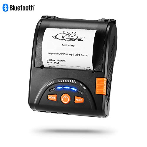 Bluetooth Mobile Thermal Receipt Printer, MUNBYN 2 Inches 58MM Impresora térmica Printer with Leather Belt Compatible with Android Windows Devices for Business ESC/POS, Does NOT Support Square (Invoice Printer)