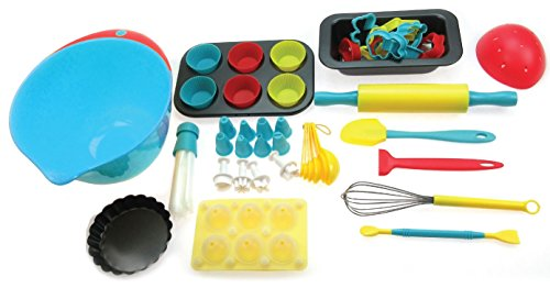 Handstand Kitchen 75-piece Ultimate Real Baking Set with Recipes for Kids 2 The perfect set for every child that is ready to dive into the fun of real baking - the Ultimate Baking Set for Kids from Handstand Kitchen Complete 75-piece set includes everything your child needs to create any baked delight that they can imageine Make and beautifully decorate cake pops, cupcakes, cookies, quick bread and tarts - so many options in one box of fun
