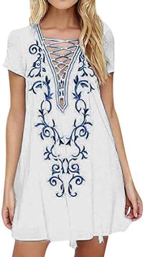 yoyorule Summer Dress New Women`s Fashion Summer Short Sleeve Boho Print Mini Bohemian Dress / yoyorule Summer Dress New Women`s Fashion Summer Short Sleeve Boho Print Mini Bohemian Dress