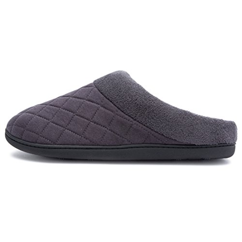 Men's Comfort Quilted Memory Foam Fleece Lining House Slippers Slip On Clog House Shoes Grey RwWYSB2Qt
