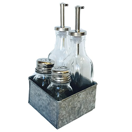 Farmers Market Oil, Vinegar, Salt and Pepper, Galvanized Boxed Set, 5 Pieces, Glass and Metal - Oil Caddy Set