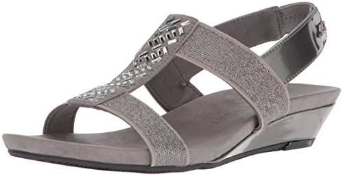 Anne Klein Womens Qtee Slide Sandal Light Pink/Natural Synthetic
