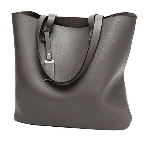 Big Grey Shoulder Tote Bag wanture Purse Bags Handbag Leather PU 4wxqZEgZFB